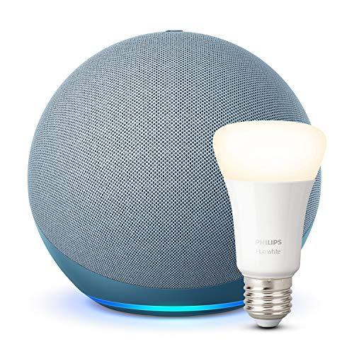 Der neue Echo (4. Generation), Blaugrau + Philips Hue White LED-Lampe