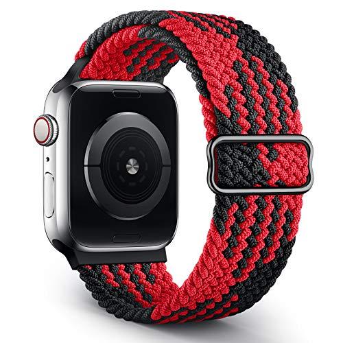 Jiamus Geflochtenes Solo Loop Armband Kompatibel mit Apple Watch Armband 38mm 40mm 42mm 44mm,Elastic Sport Dehnbarer Ersatz Armband für iWatch Series 6/SE/5/4/3/2/1 Herren Damen(Patented)