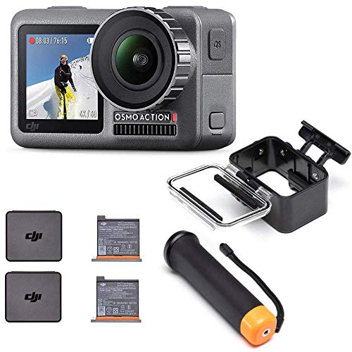 DJI Osmo Action Cam Digitale Actionkamera mit 2 Bildschirmen, schwarz + Akku für DJI Osmo Action Kamera, maximale Kapazität 1300 mAh + Waterproof Case + Floating Handle