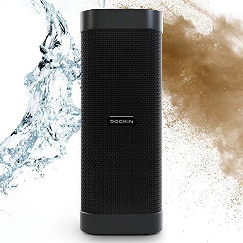 DOCKIN® D Mate Portable Bluetooth Lautsprecher, 25 Watt Outdoor Speaker mit 16 Stunden Akku, tragbare/portabel/Wireless Soundbox, integrierte Powerbank, wasserfest, Stereomode, USB-Anschluss…