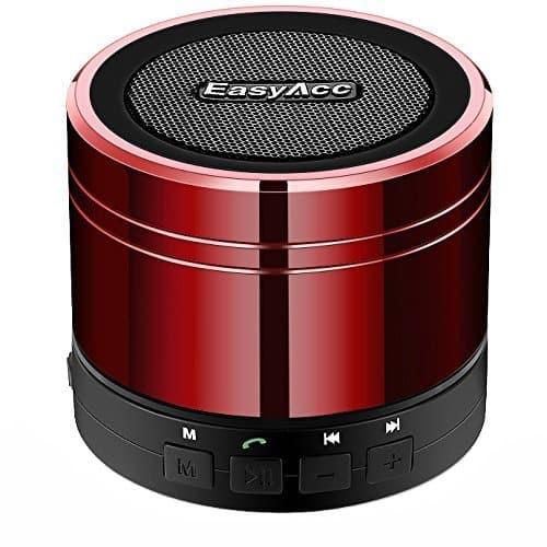 EasyAcc Mini Portable Bluetooth 4.1 Lautsprecher((3,5 mm Audio, Mikrofon, FM Radio, Micro SD Karte Slot), Rot