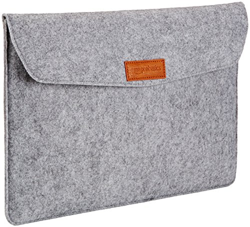AmazonBasics Laptop-Tasche, Filz, für Displaygrößen bis 15,4 Zoll , Hellgrau