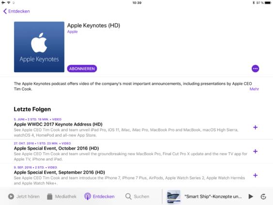 iOS 11 Podcasts abonnieren - Apple Keynote - Screenshot