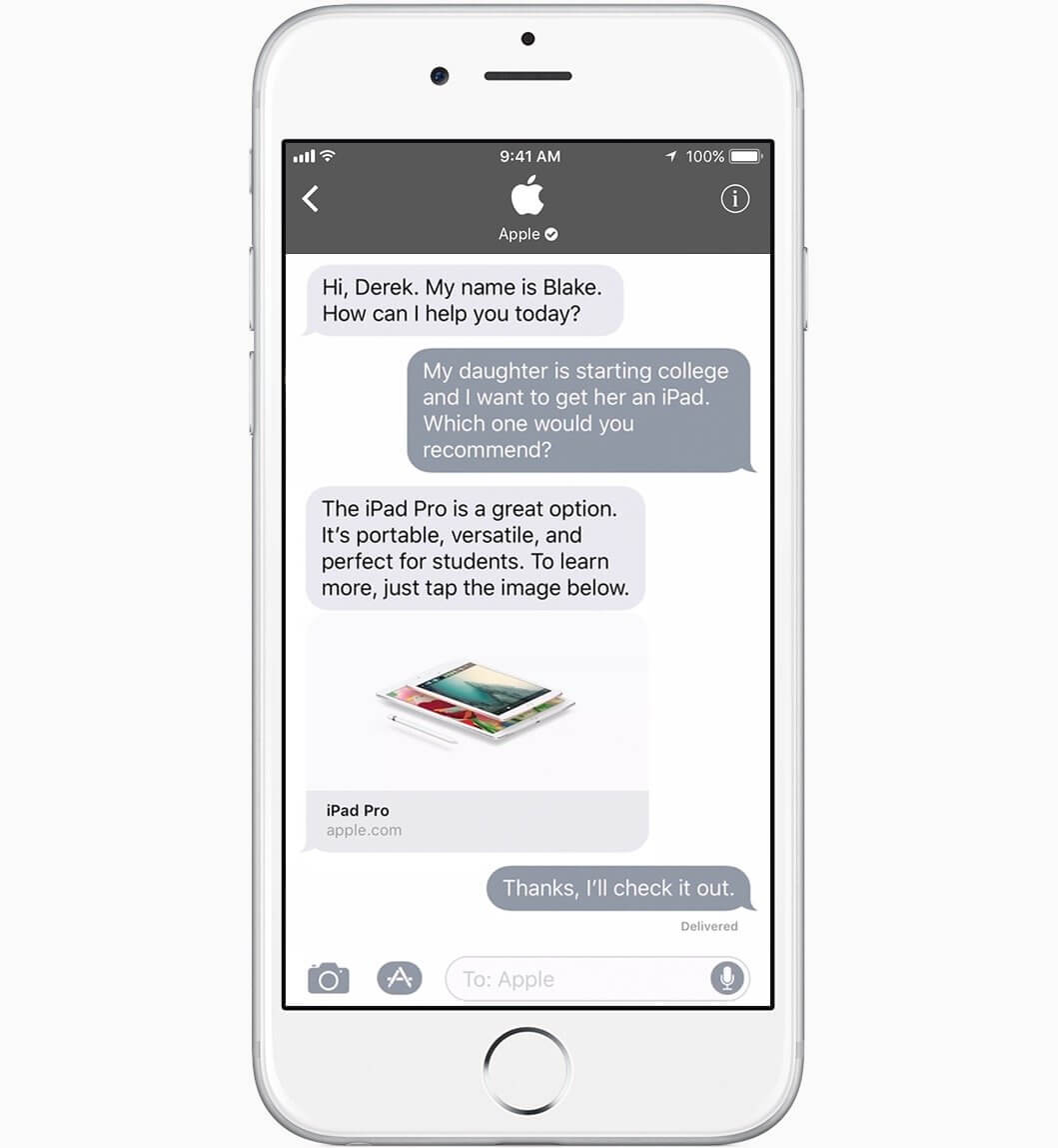 Apple Business Chat (iMessage)