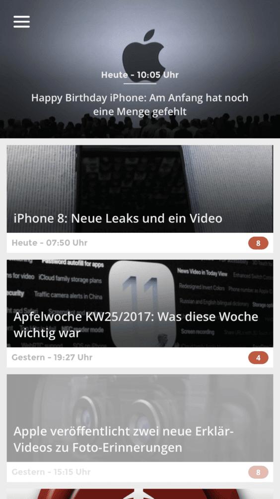Apfelpage 6.0 Home-Bildschirm