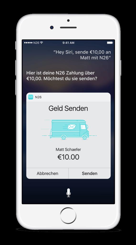 Geld Senden mit Siri und N26 Screenshot
