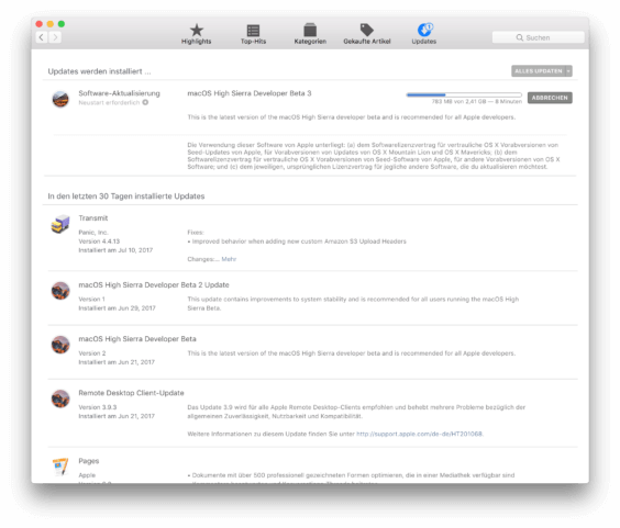 macOS High Sierra Beta 3 Installation App Store