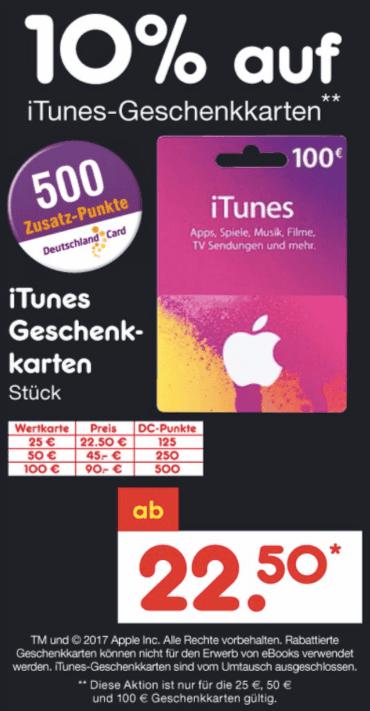 iTunes karten mit Rabatt Netto Markendiscount
