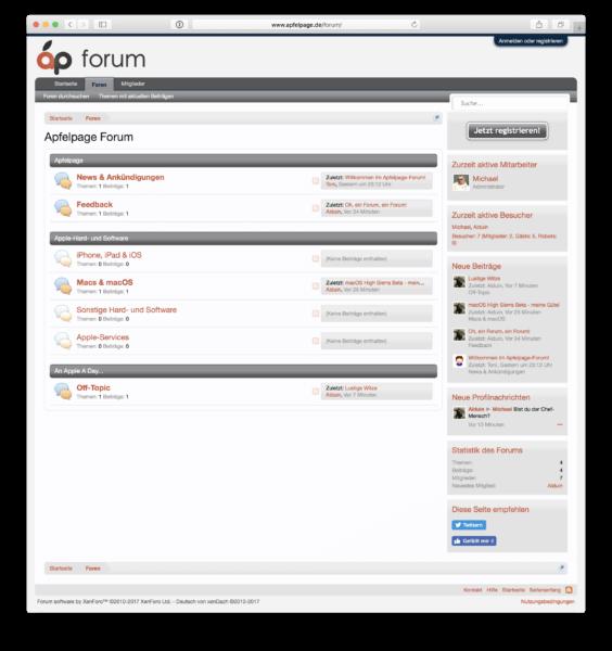 Die Startseite des Apfelpage-Forums