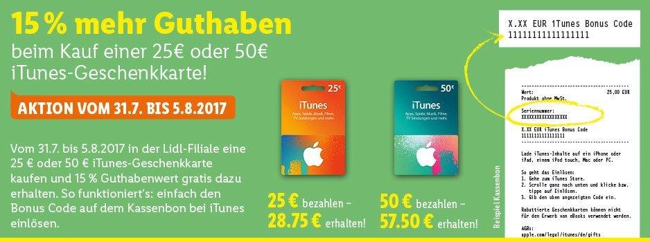 iTunes Karten Extra Guthaben LIDL