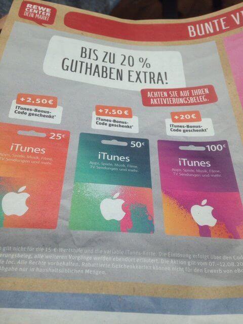 REWE iTunes Karten Extra-Guthaben
