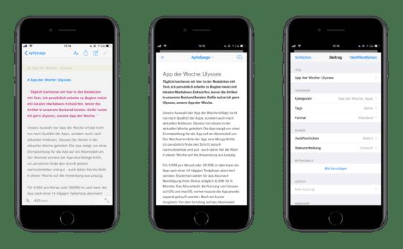 Screenshot von Ulysses unter iOS