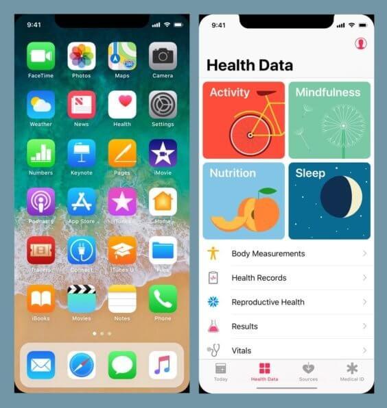 Homescreen und Health-App auf dem iPhone 8