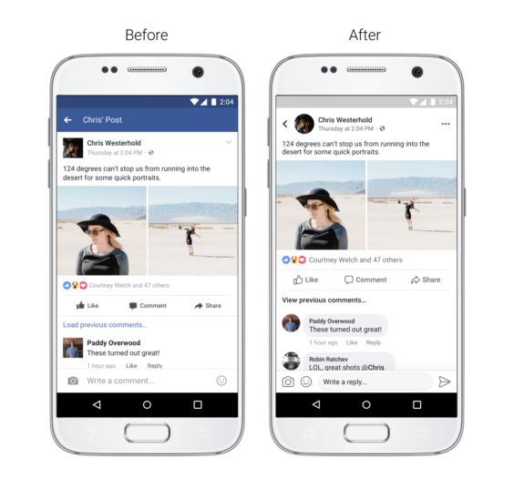 Facebook App neues Beitrags-Design