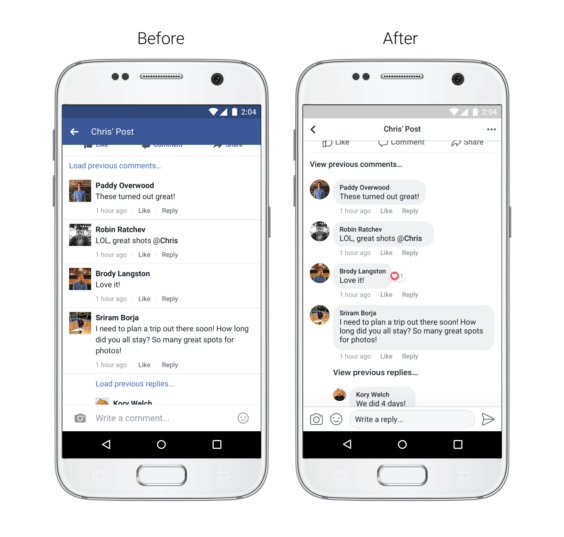 Facebook App neues Kommentar-Design