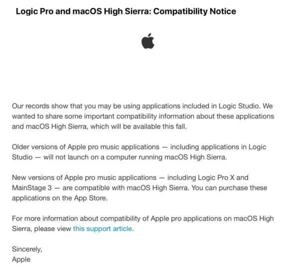 MacOS High Sierra: Apple informiert über Kompatibilität seiner Pro Apps