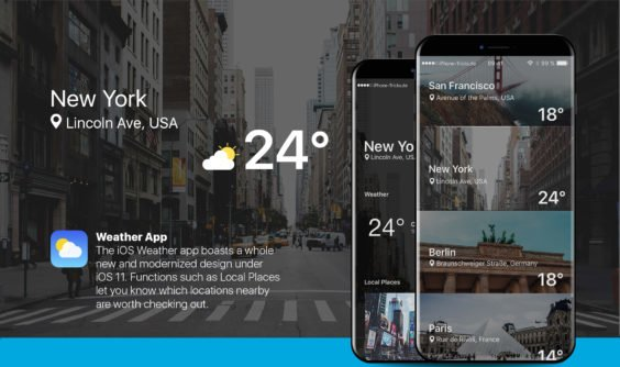 iPhone 8 Konzept der Wetter-App / iPhone-Tricks