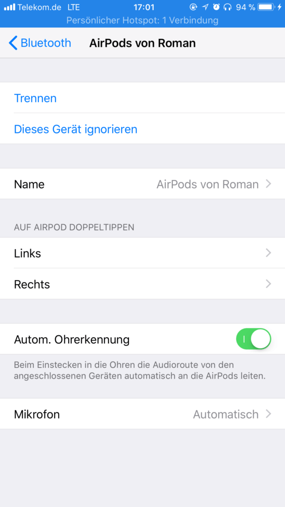 AirPods Konfiguration iOS 11