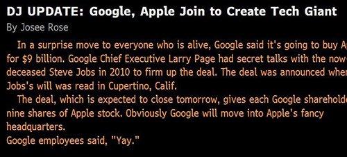 Google kauft Apple - Dow Jones Newswires