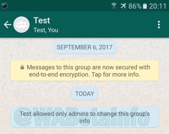 Gruppenadmin-Einstellungen in WhatsApp-Beta - WAInfo