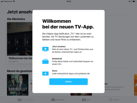 TV App Welcome-Screen