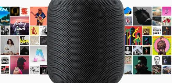 HomePod mit Apple Music Alben im Hintergrund