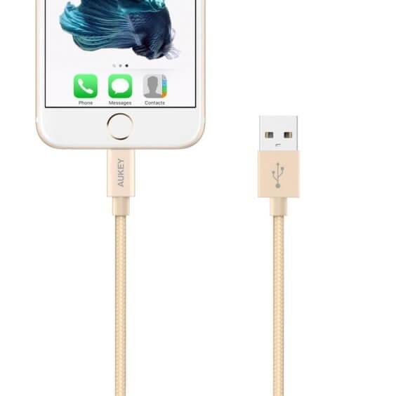Aukey mfi lightning kabel mit iphone - gold