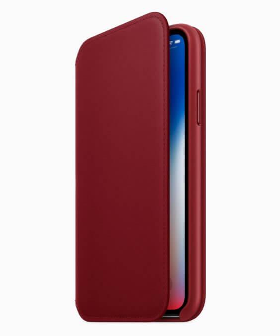 iPhone X / Leder Folio Rot