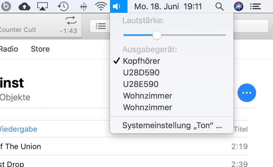 HomePod Ausgabe macOS über den Lautstärkeregler