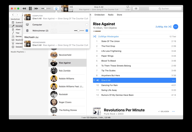 HomePod Ausgabe über iTunes mini macOS