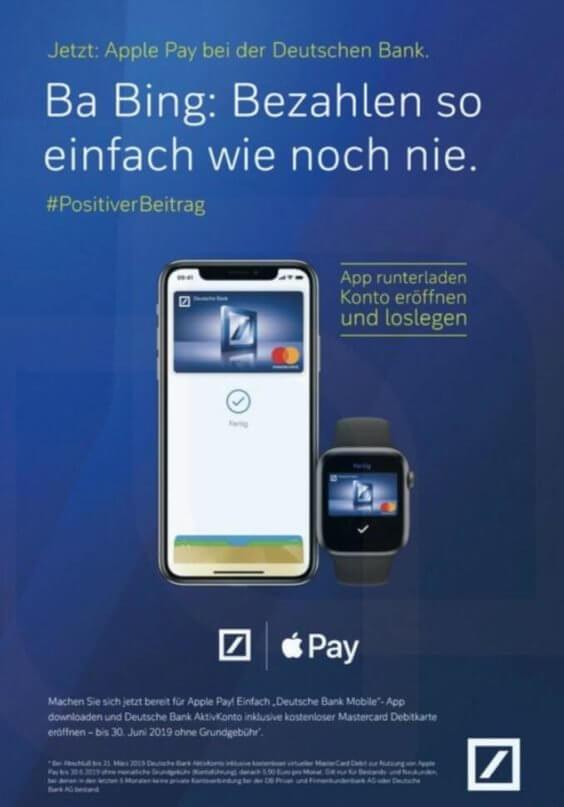 Apple Pay-Werbung bei der Deutschen Bank