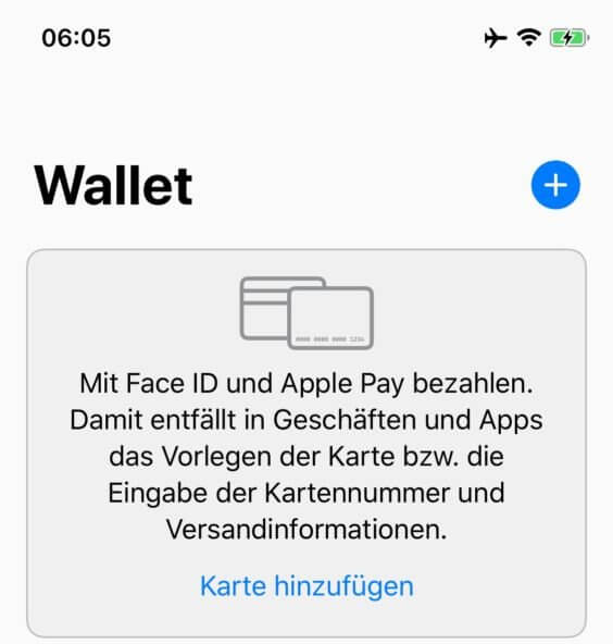 Apple Pay Wallet hinzufügen - Screenshot