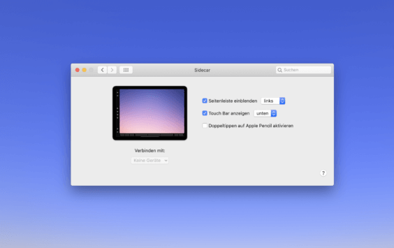 macOS Catalina Sidecar-Einstellungen - Screenshot