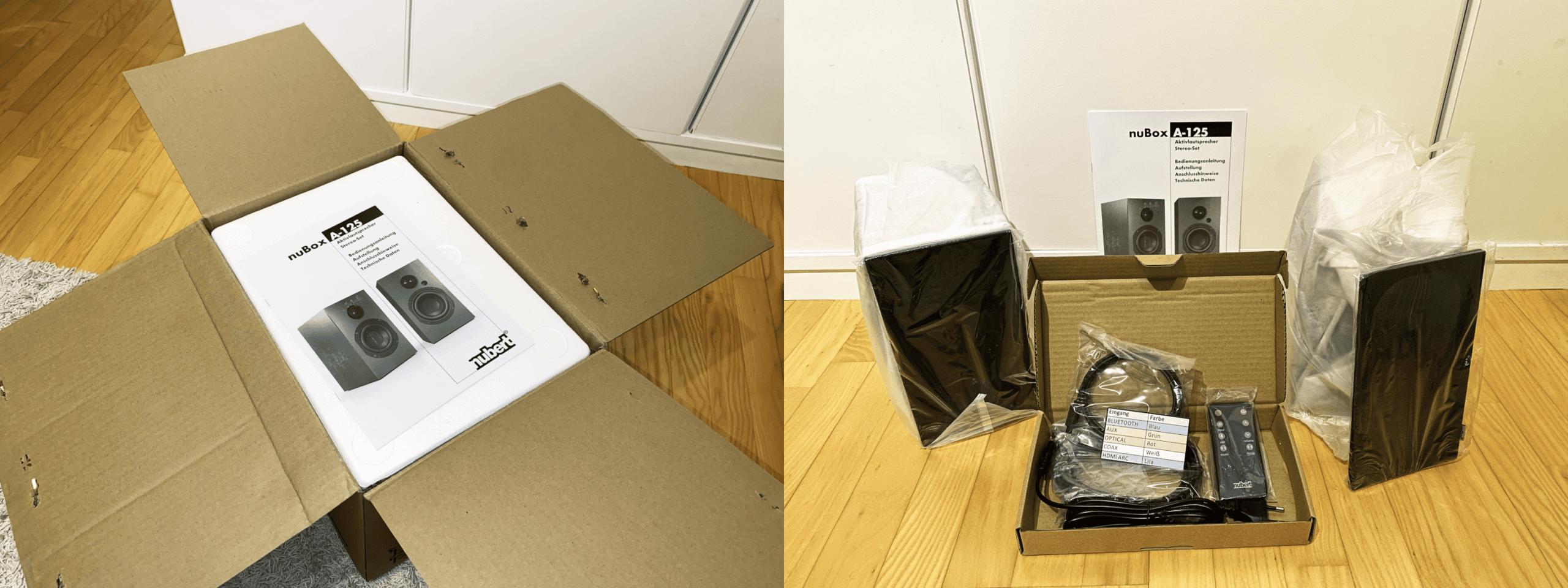 Versandbox und Lieferumfang der nuBox A-125