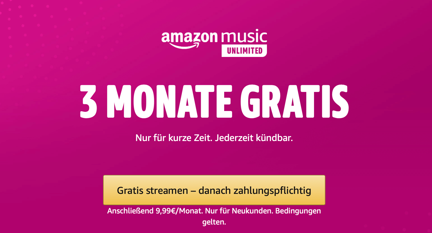 DEAL: Amazon Music Unlimited 3 Monate gratis