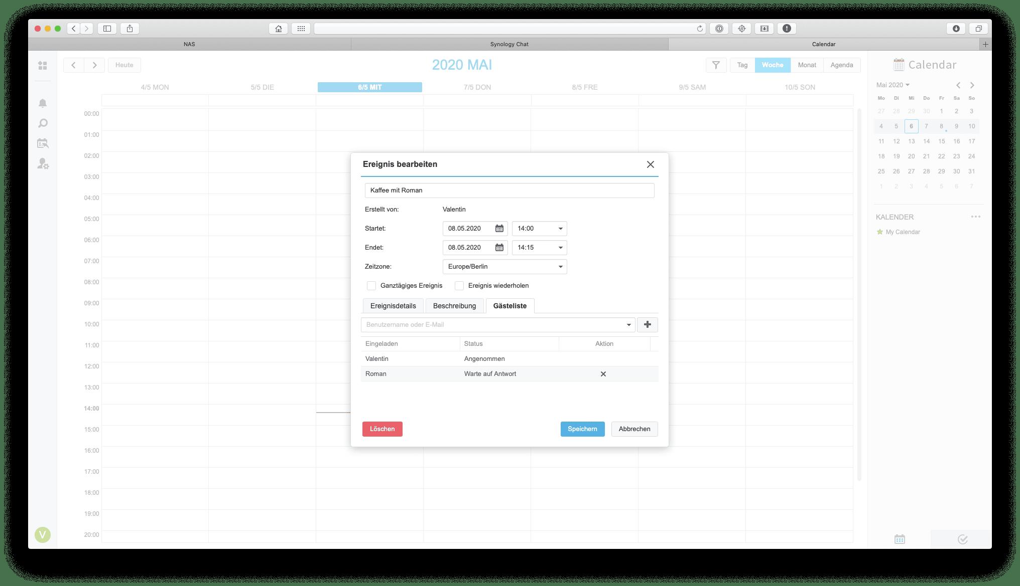 Das nahtlose Ineinandergreifen der NAS-Anwendungen ist auch beim Kalendereintrag von Vorteil