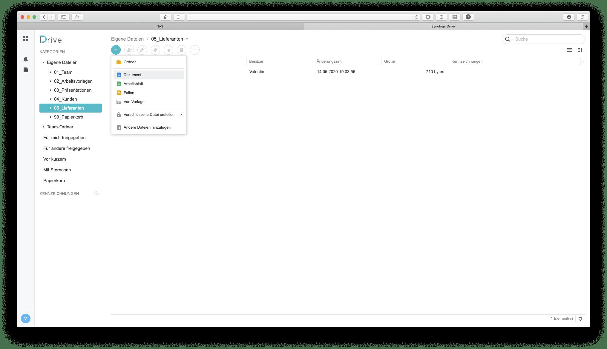 Es können eigene Dokumente, Arbeitsblätter und Präsentationen mit Synology Office erstellt werden