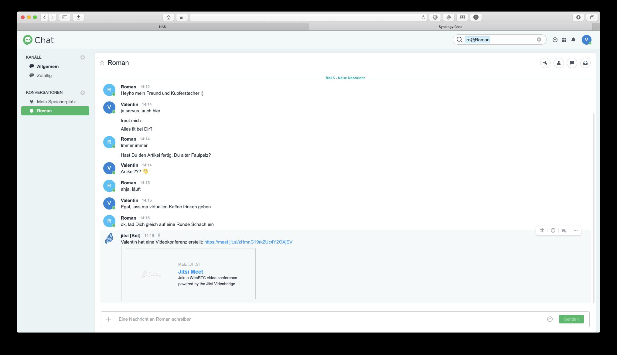 Automatische Erstellung einer Jitsi-Einladung
