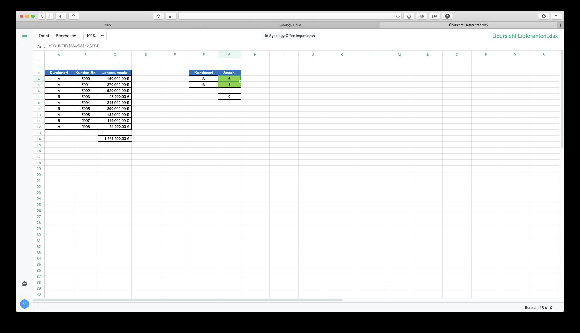 Betrachtungsmodus einer Excel-Datei