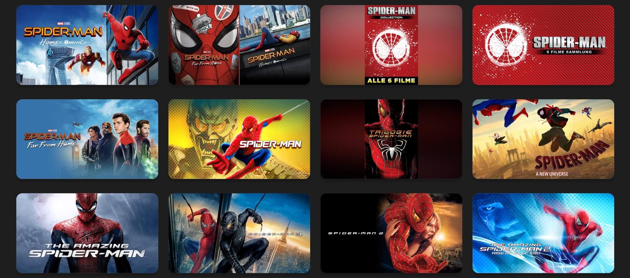Filmabend? Spider Man 9-Filme-Collection reduziert bei iTunes