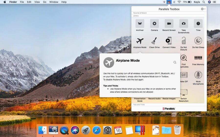 Über die Symbolleiste kann man alle Funktionen der Toolbox über nur ein Icon erreichen.