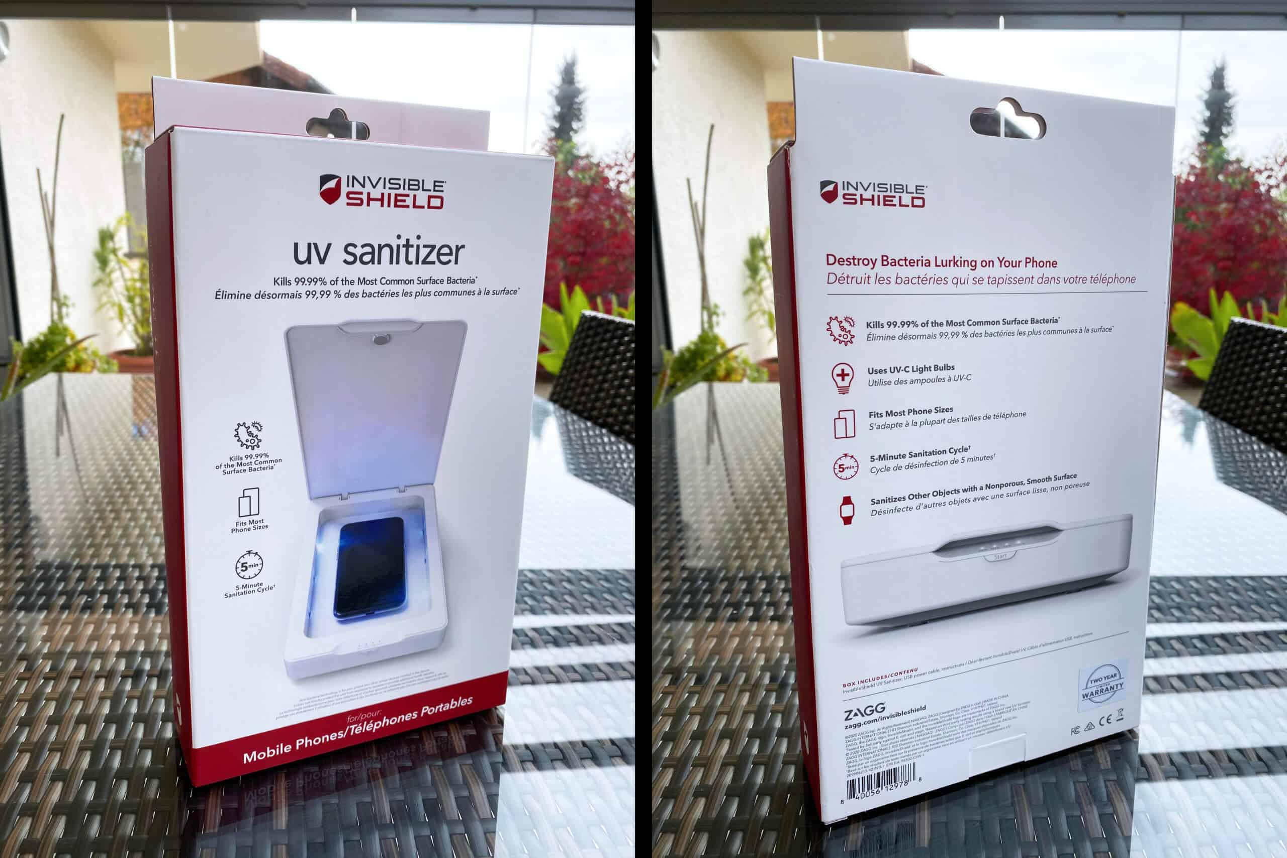 Auf der Verpackung findet man die relevanten Informationen des Sanitizers, inklusive der Desinfektionsversprechen des Herstellers.