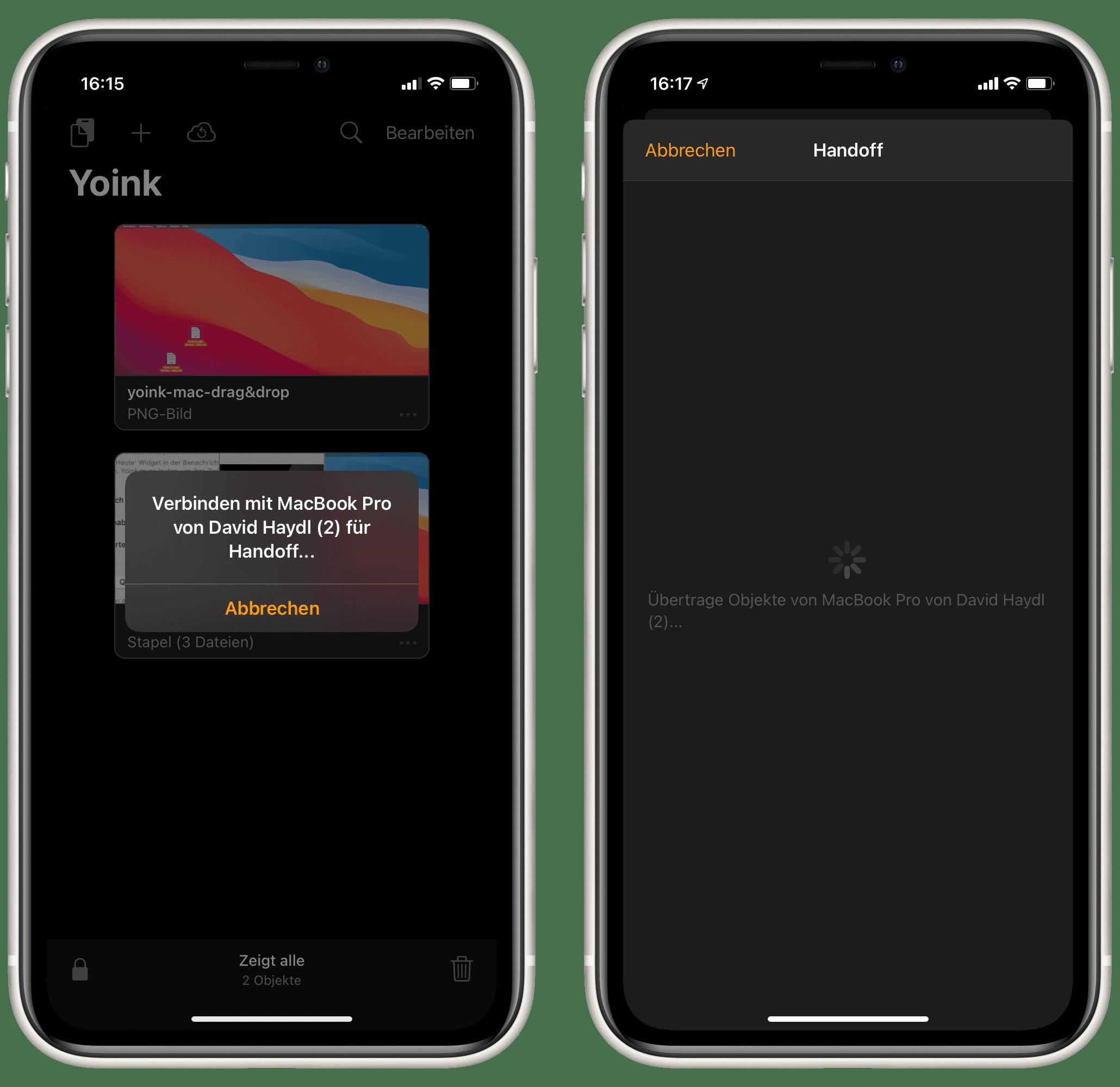 Yoink Handoff iOS