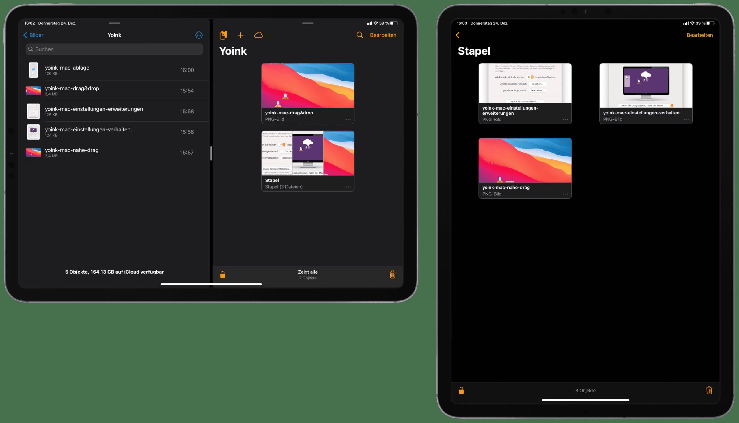 Yoink iPadOS Ablage Dateien