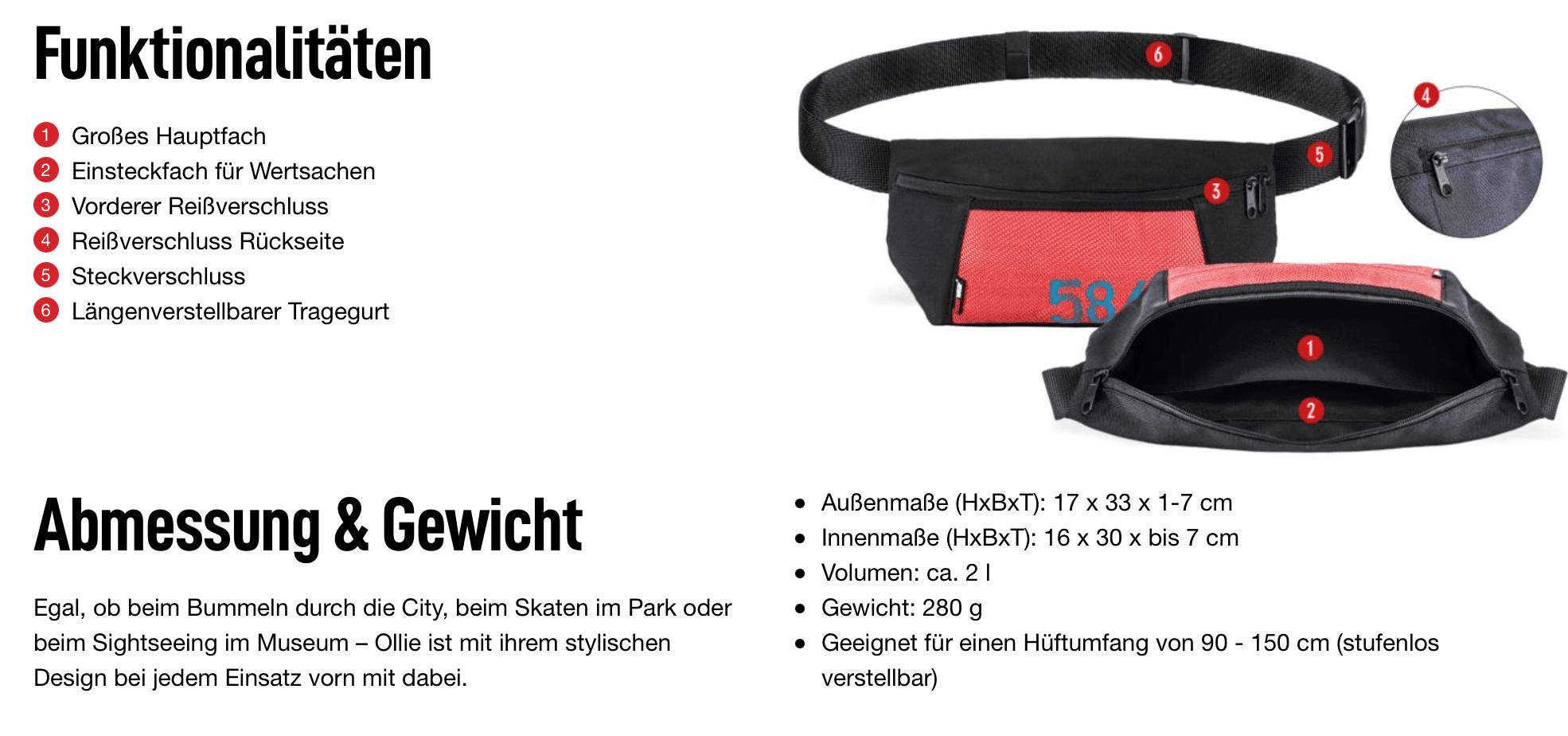 Viel Stauraum, kleine Größe: Hip-Bag Ollie ist ein echtes Effizienzwunder. (Bild: Feuerwear)
