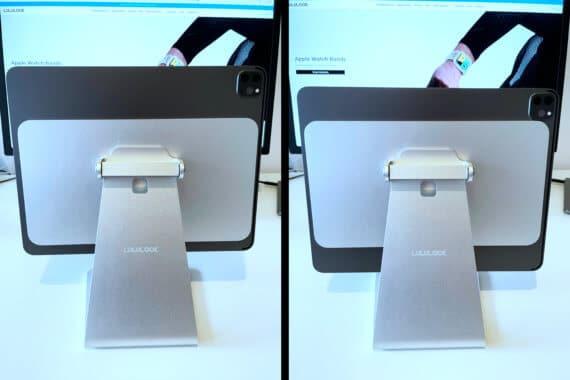 Links ist das iPad richtig platziert, rechts dagegen nicht.