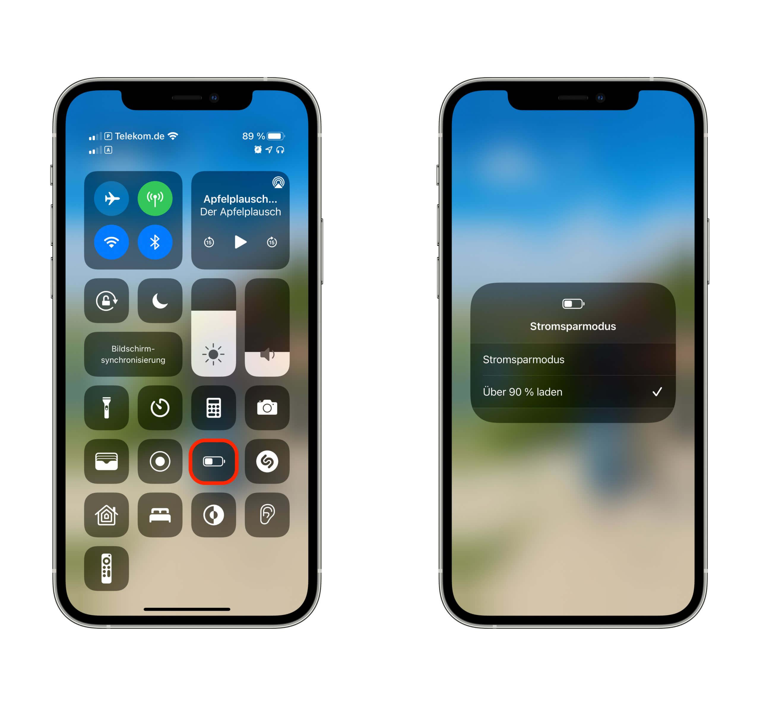 Über das Kontrollzentrum kann man das Vollladen des iPhones erzwingen.