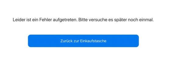 Fehlermeldung im Apple Store - Screenshot
