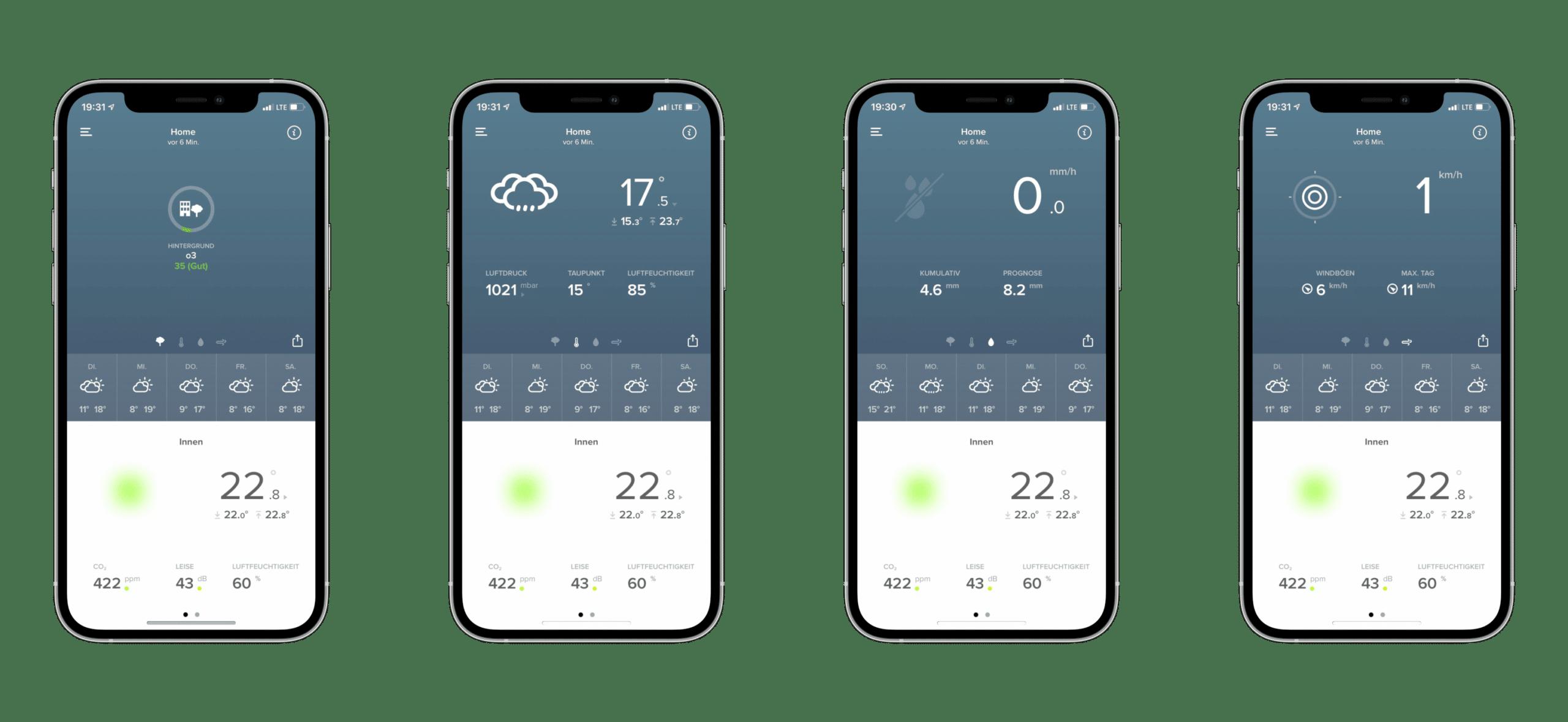 Die Netatmo-App zeigt eine ganze Menge Informationen an.