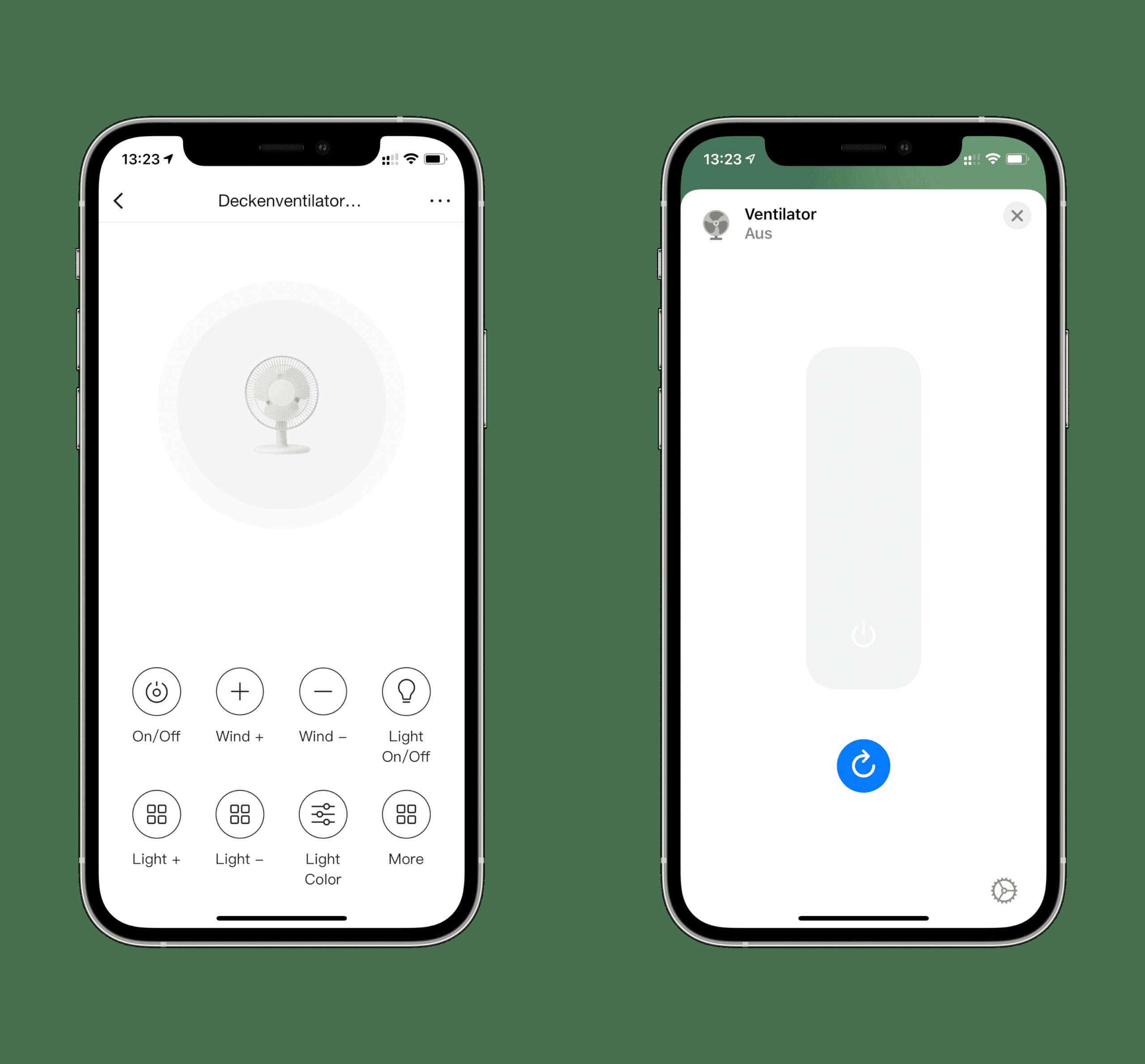 In der Broadlink-App (links) kann man jeden Befehl der IR-/RF-Fernbedienung duplizieren; in Apple Home sieht die ganz Sache erheblich magerer aus.
